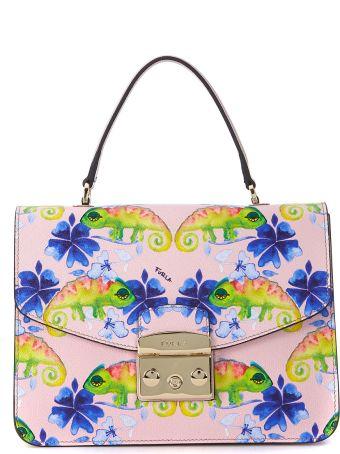 Furla Metropolis S Pink Leather Handbag With Chameleons