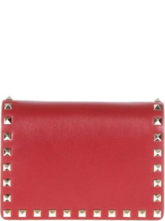 Valentino Garavani Rockstud Red Leather Shoulder Bag