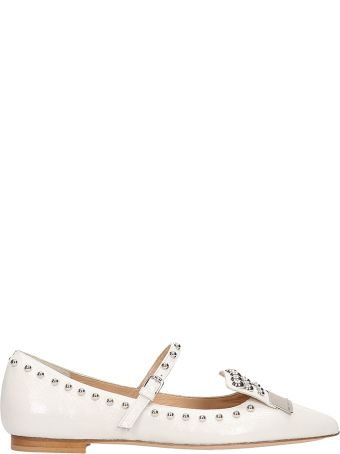 The Seller Pointed Toe White Leather Ballerinas