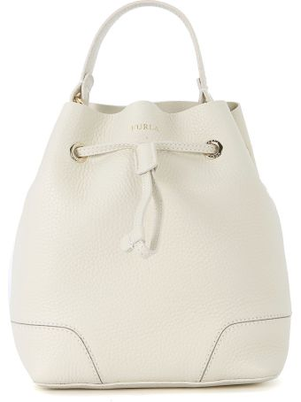 Furla Stacy S White Leather Bucket Bag