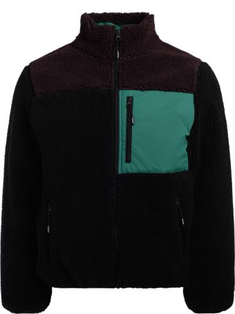 Kenzo Black Green And Bordeaux Shearling Bomber