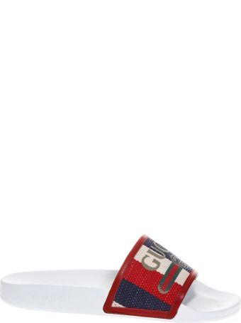 Gucci Rubber & Canvas Sylvie Slider