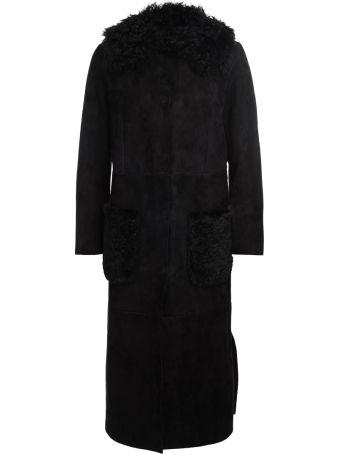 Salvatore Santoro Black Leather And Cashmere Long Coat