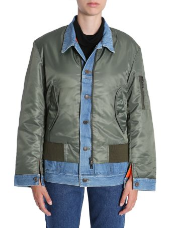 Forte Couture Bomber Jacket With Denim Insert