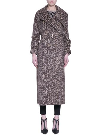 Max Mara Wool Blend Leopard Trench Coat