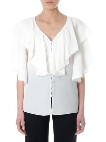 Chloé White Silk Ruffled Shirt