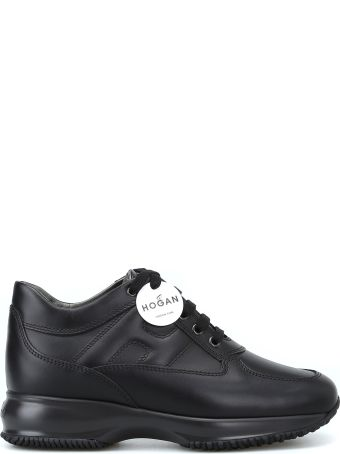 Hogan Interactive Black Leather Lace-up Sneakers
