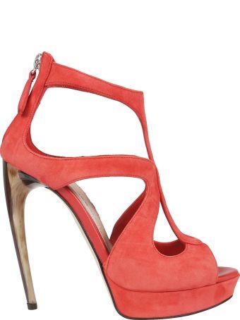 Alexander McQueen Horn Heel Platform Sandals