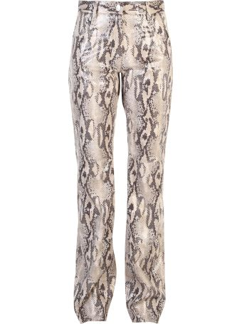 MSGM Beige Printed Trousers