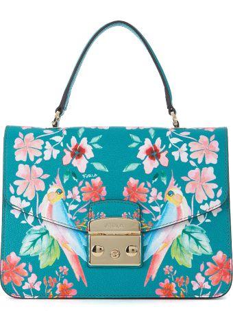 Furla Metropolis S Aqua Green Leather Handbag With Flowers And Parrots.