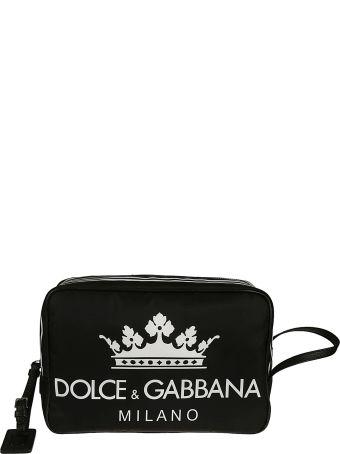 Dolce & Gabbana Printed Logo Necessaire Clutch