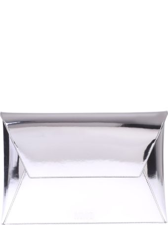 MM6 Maison Margiela Metallic Logo Envelope Clutch