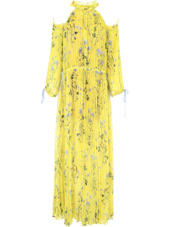 Long Pleated Floral Dress