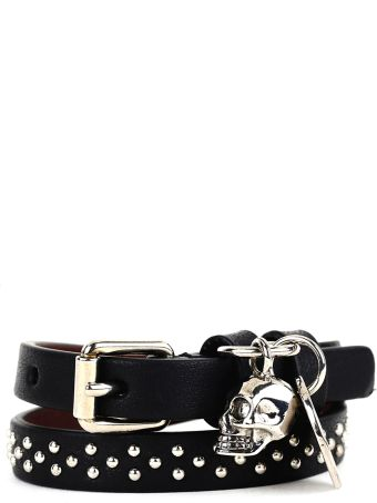 Alexander McQueen Black Studded Bracelet With Skull