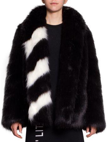 Off-White Black Striped Faux Fur