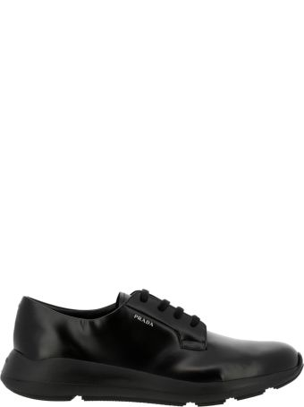 Prada Brogue Shoes Lace Derby Fly In Brushed Leather With Rubber Sole