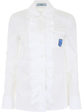 Prada Ruffled Cotton Shirt