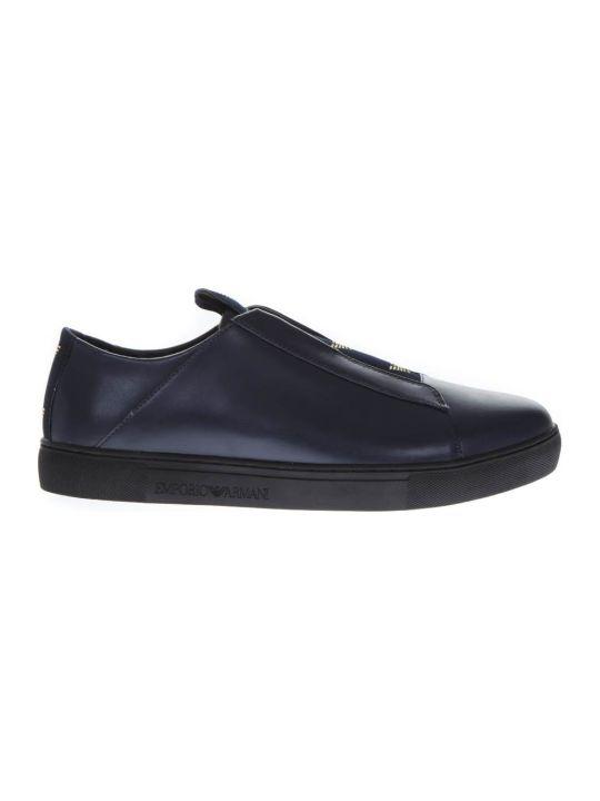 Emporio Armani Blue Leather Slip-on Sneakers