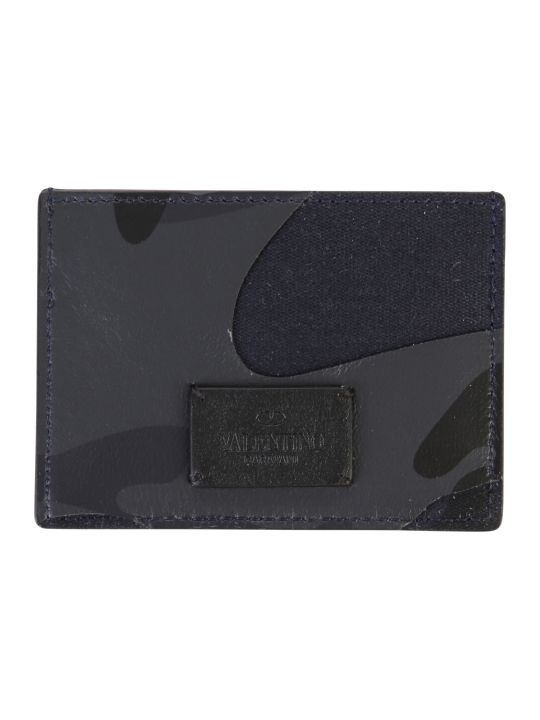 Valentino Garavani Blue Branded Card Holder