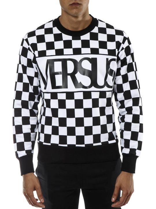Versus Versace Black & White Check Cotton Sweatshirt