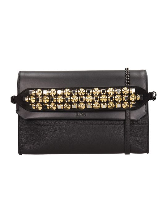 Christian Louboutin Black Leather Loubiblues Clutch Bag