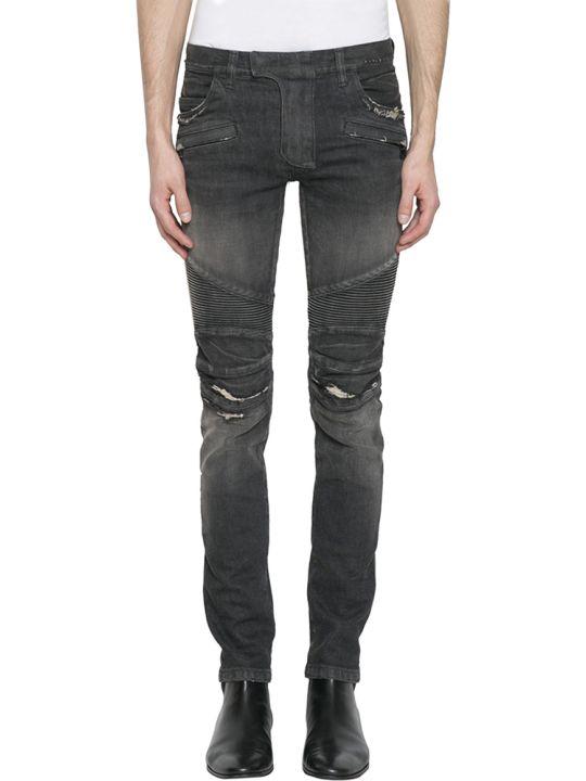 Balmain Faded Black Biker Jeans