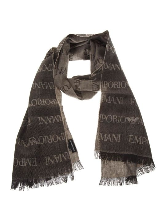 Emporio Armani Brown  Wool Scarf With Logo