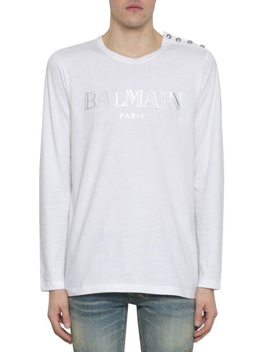 Balmain White Cotton Logo T-shirt