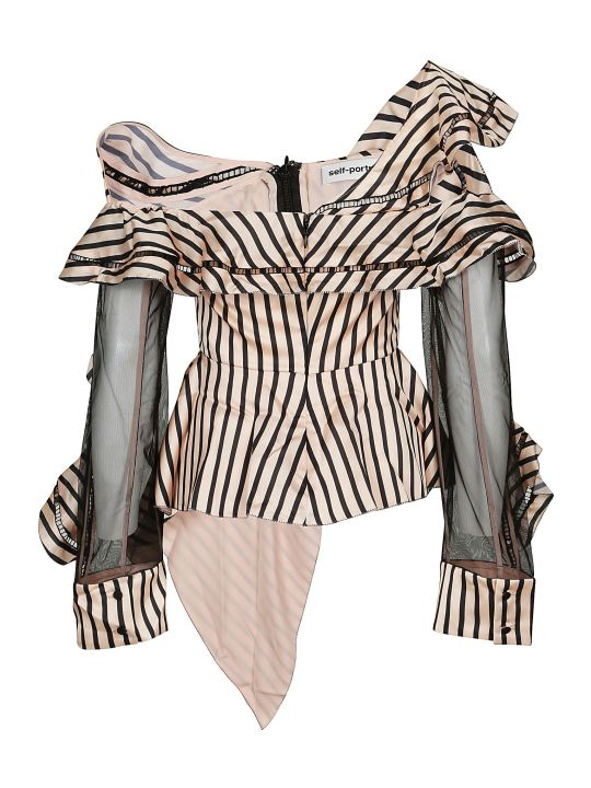 self-portrait Asymmetric Striped Top