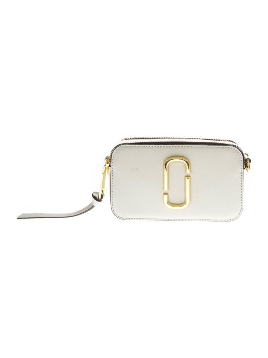 Marc Jacobs Porcellain Bag In Leather With Logo Print Shoulder Strap
