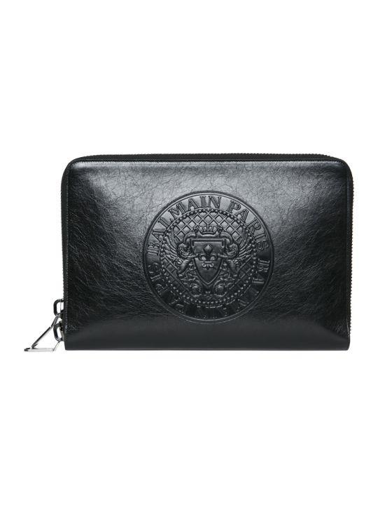 Balmain Black Leather Document Holder