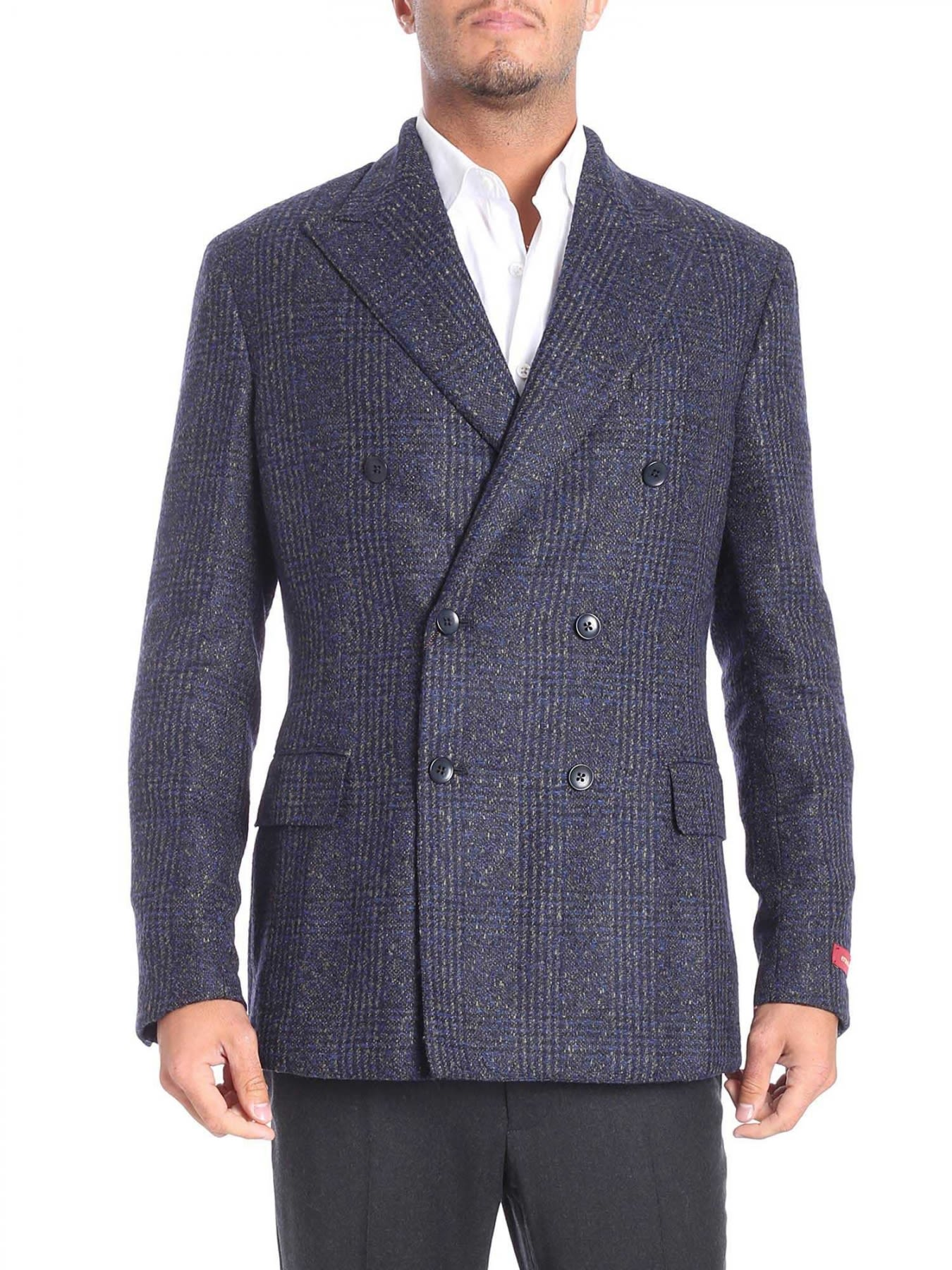 ERNESTO ESPOSITO Double-Breasted Woolen Cloth Jacket in Blue
