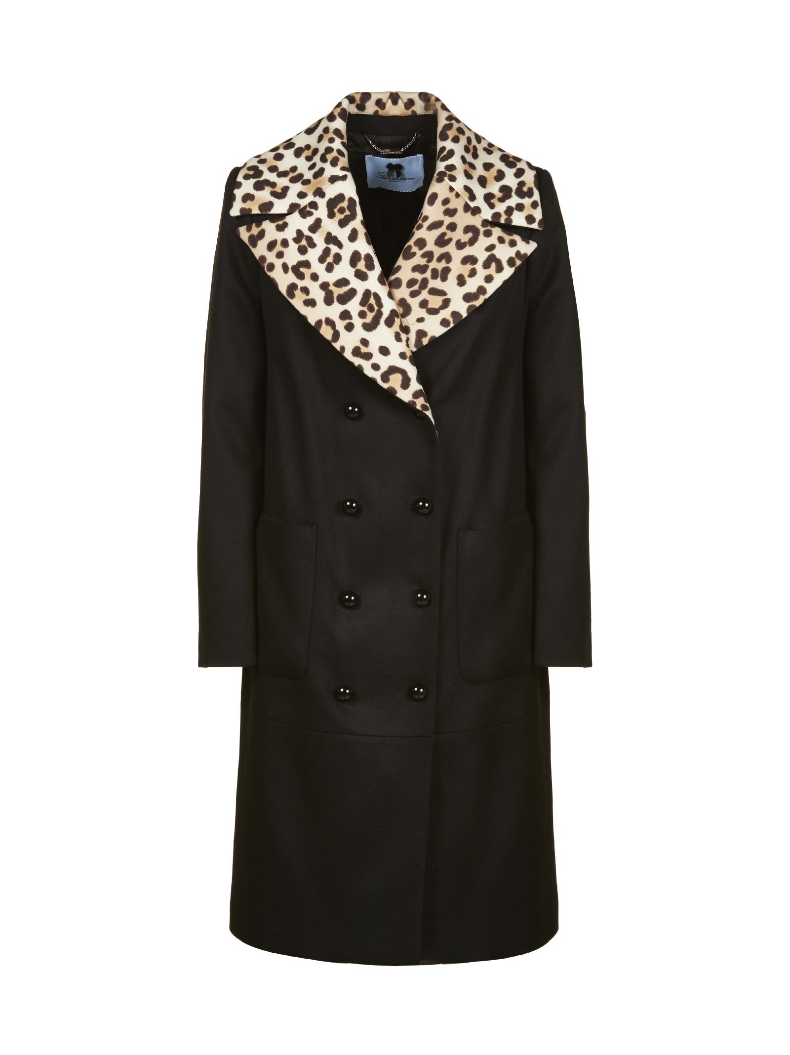 Blumarine LEOPARD DOUBLE BREASTED COAT