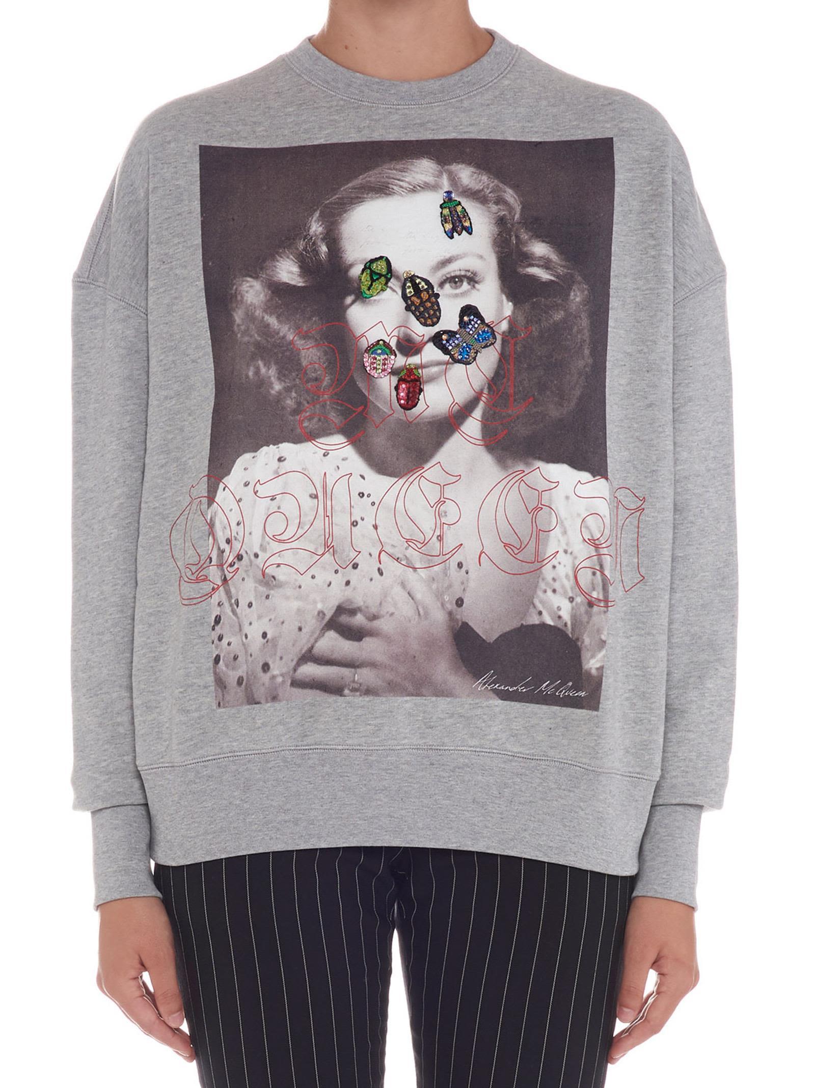 Alexander Mcqueen 'Portrait Bug' Sweatshirt in Grey