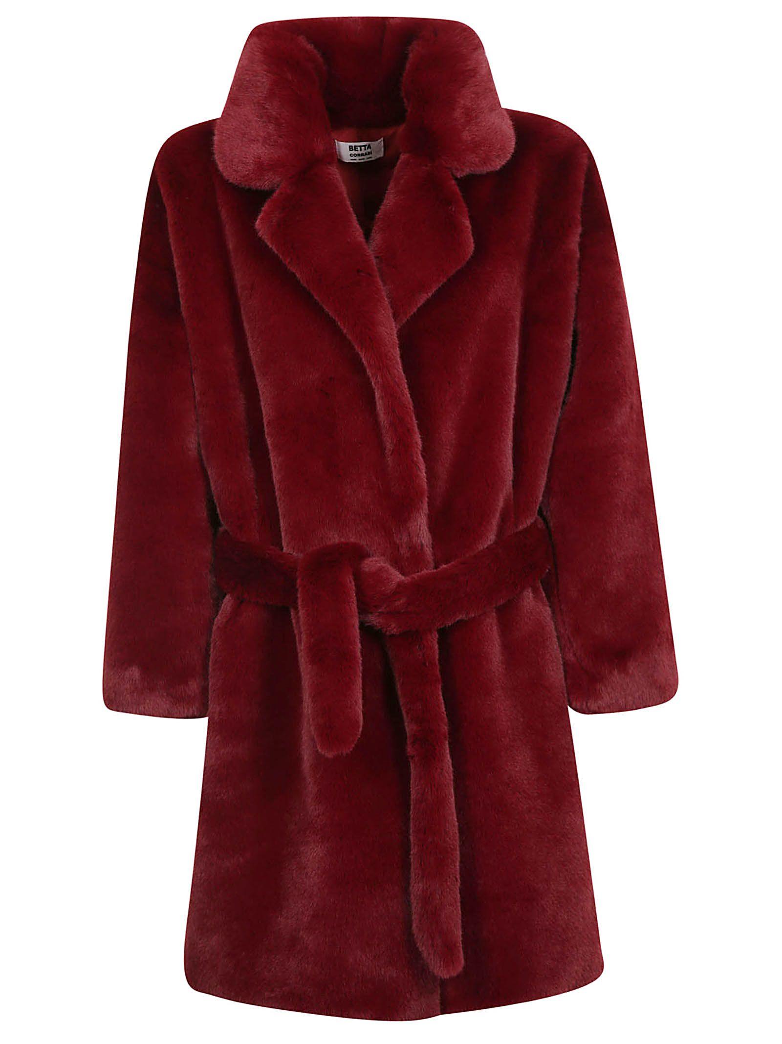 BETTA CORRADI Belted Coat in Bordeaux