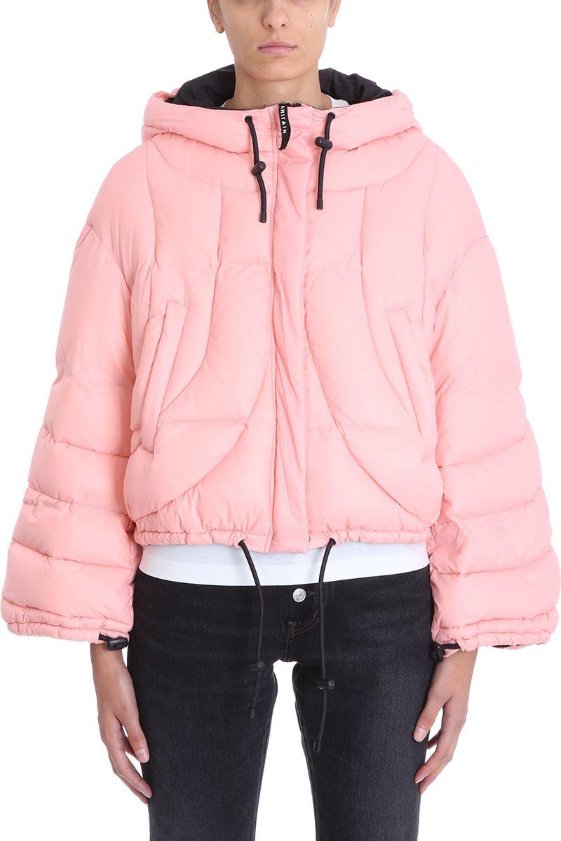 AHIRAIN Pink Nylon Down Jacket in Rose-Pink
