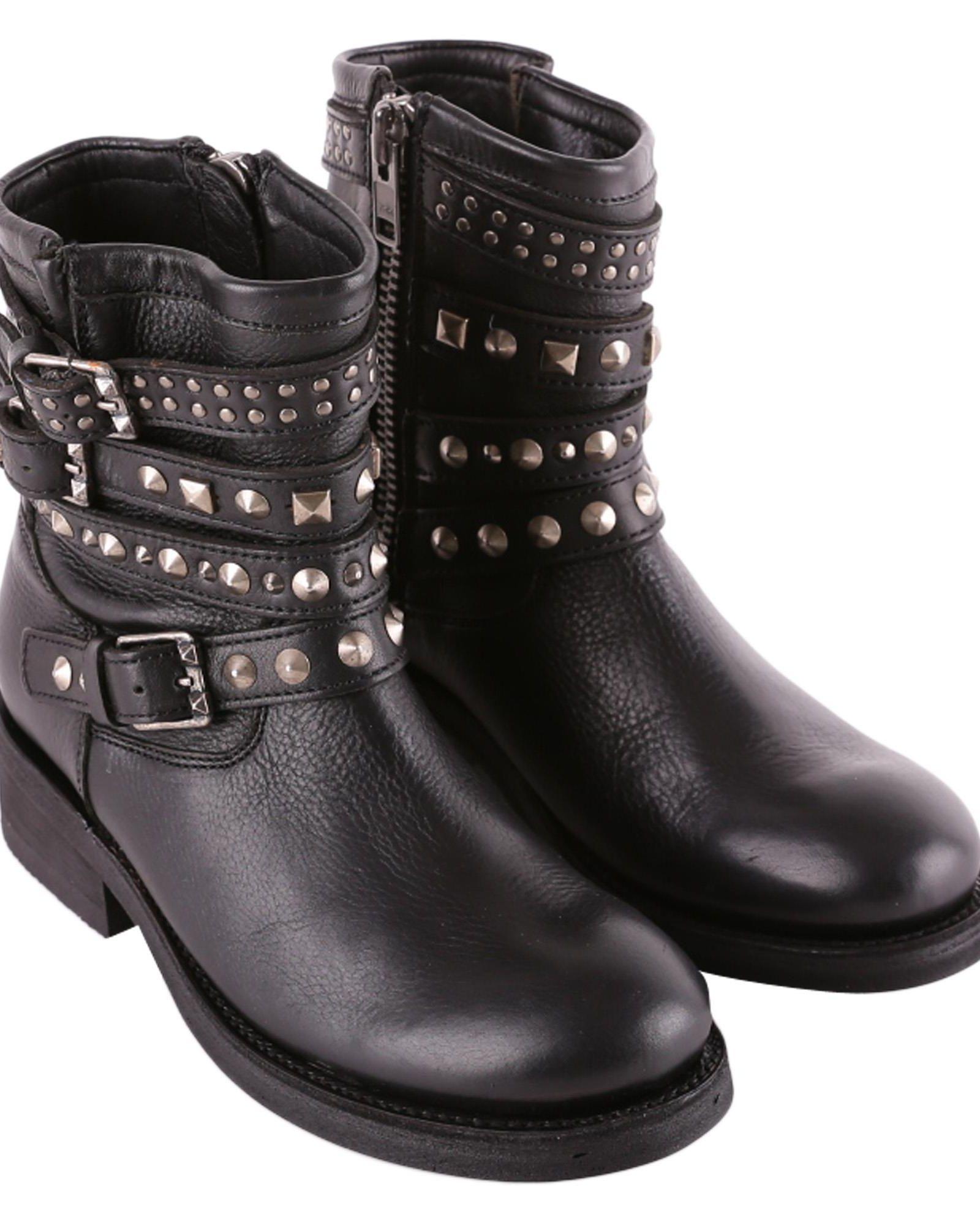 Ash Tatoo Leather Biker Boots in Black
