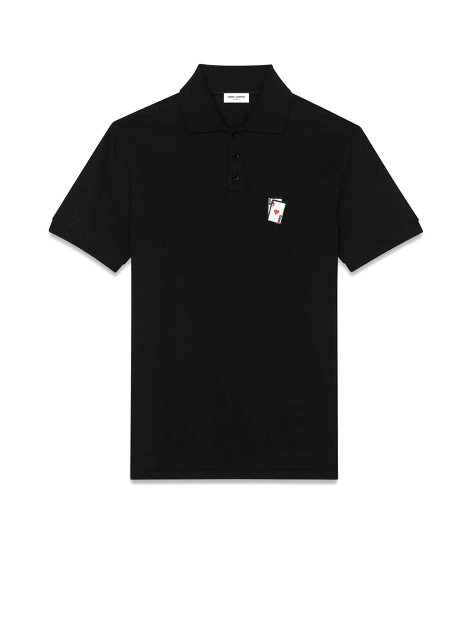 SAINT LAURENT PLAYING CARD POLO IN BLACK PIQUE COTTON