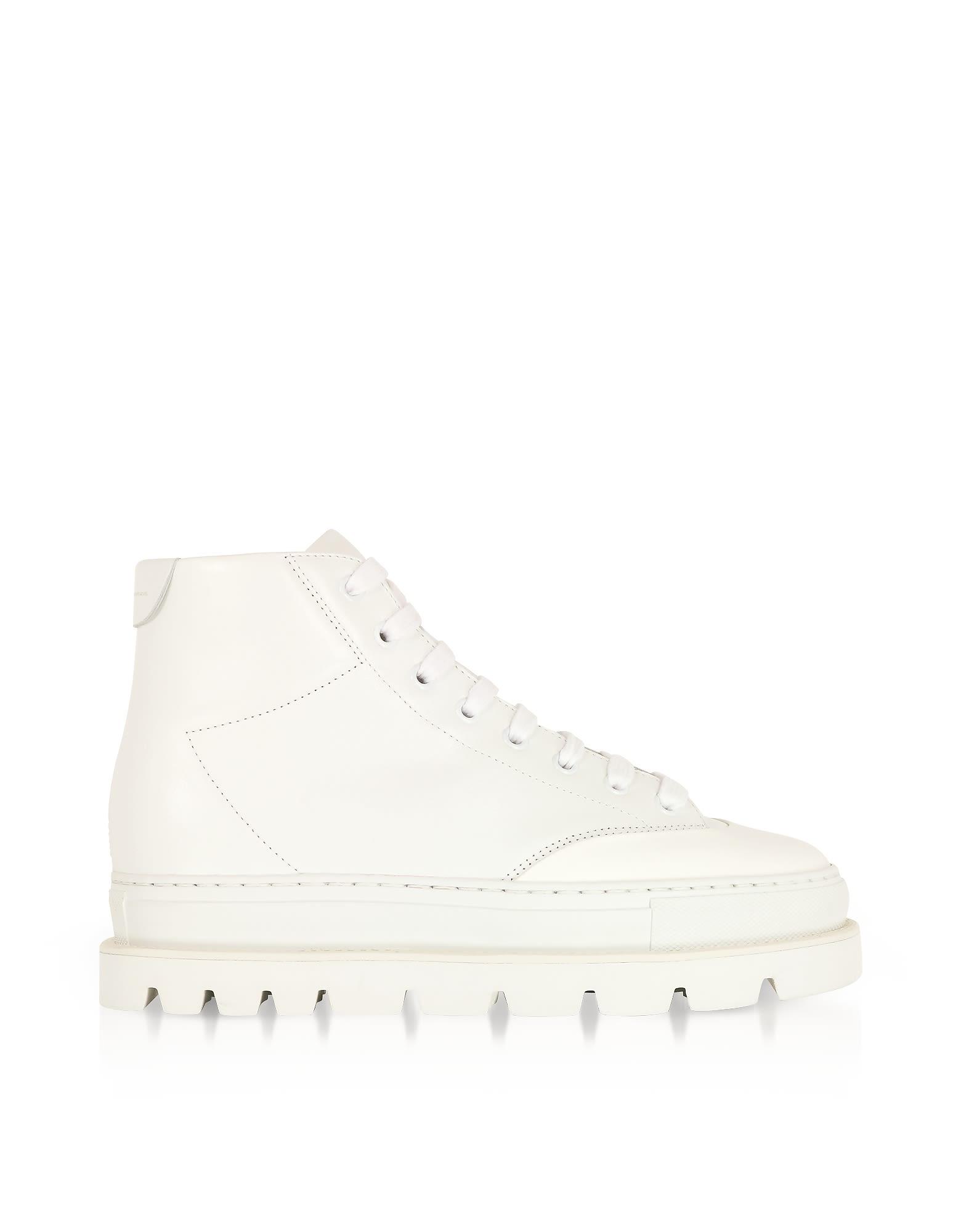 mm6 maison margiela - Mm6 Maison Martin Margiela White Leather Platform Sneakers