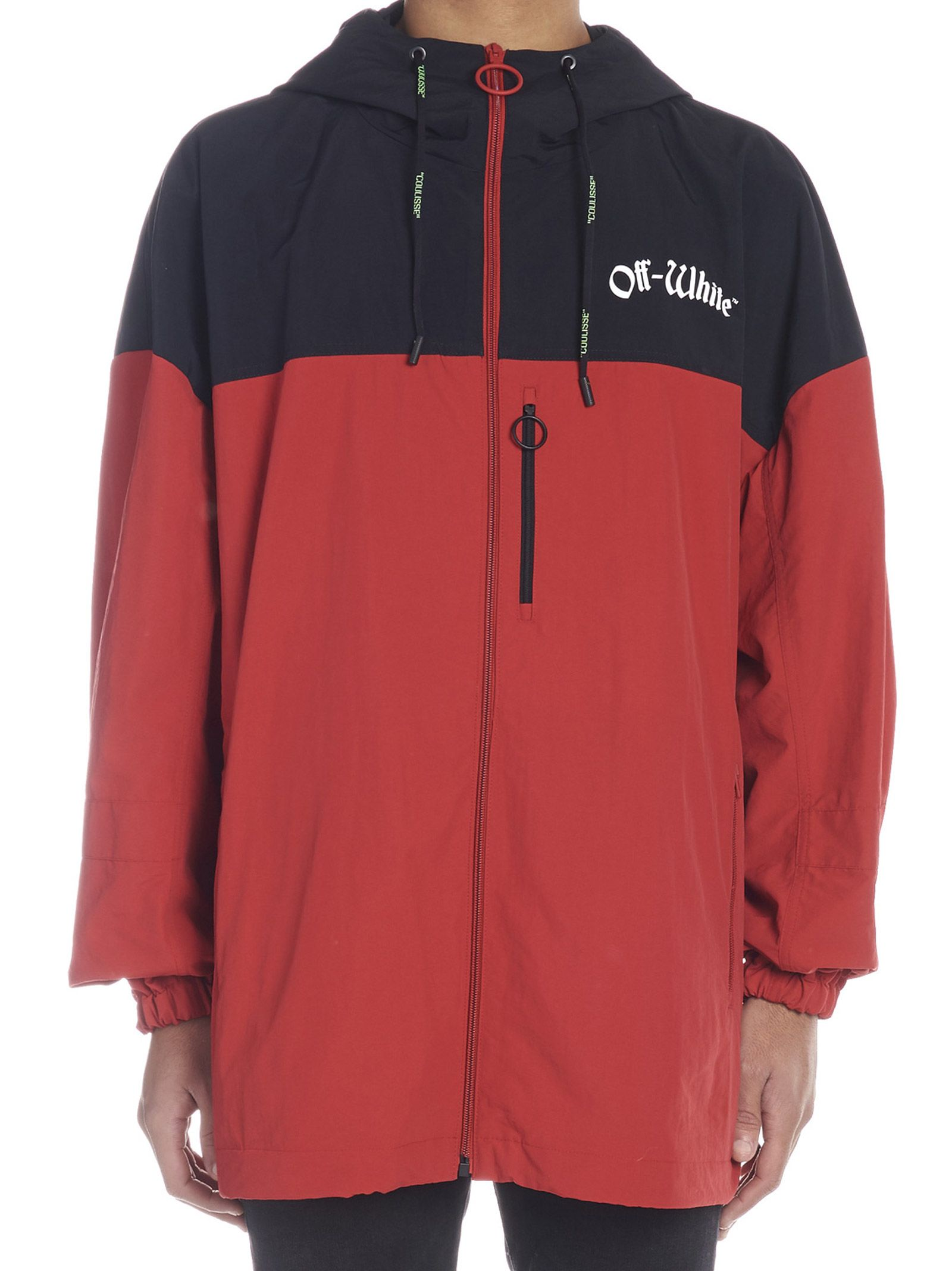 Shell Two Oversized Red Hooded White Off Jacket Tone Printed q6v4AwwX