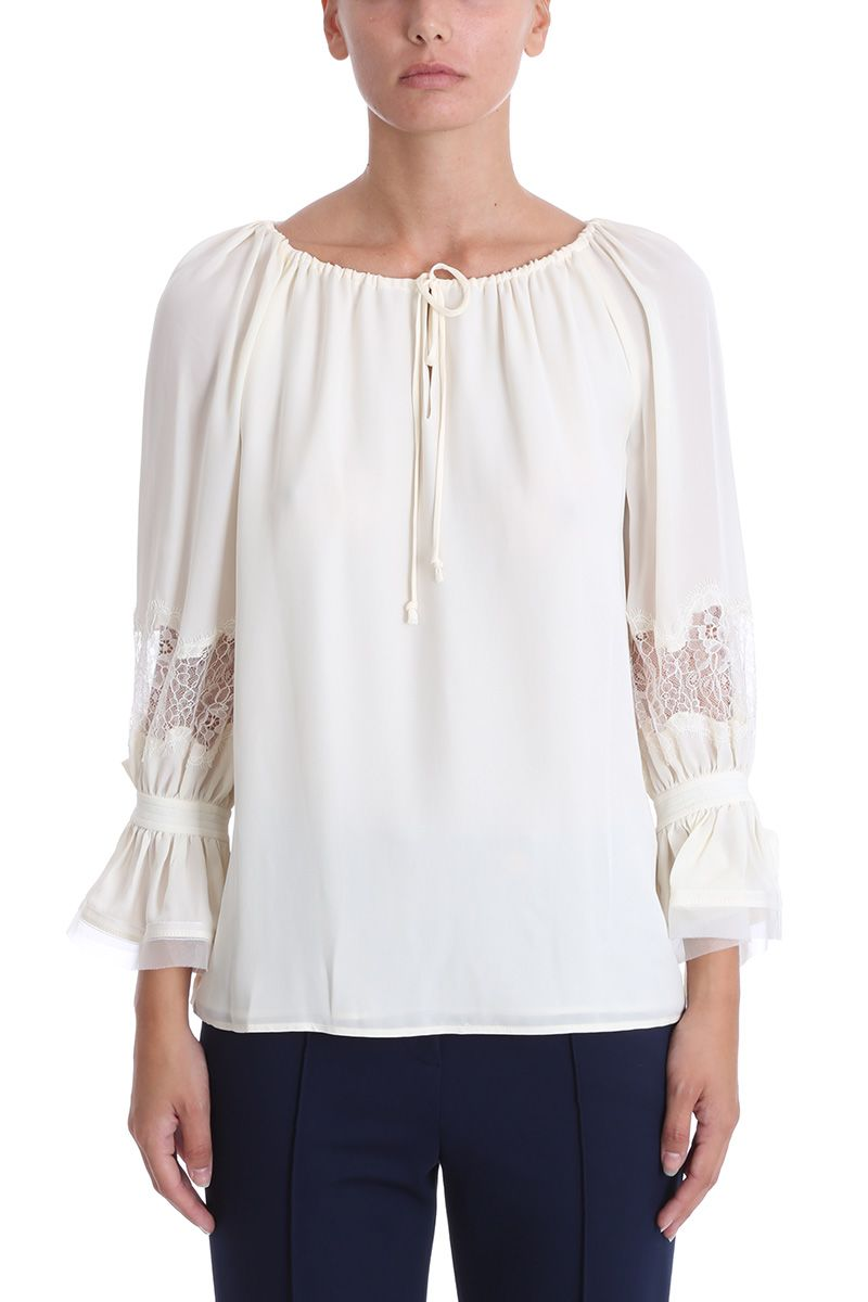 TORY BURCH Tory Burch Ivory Silk Loose Fit Blouse