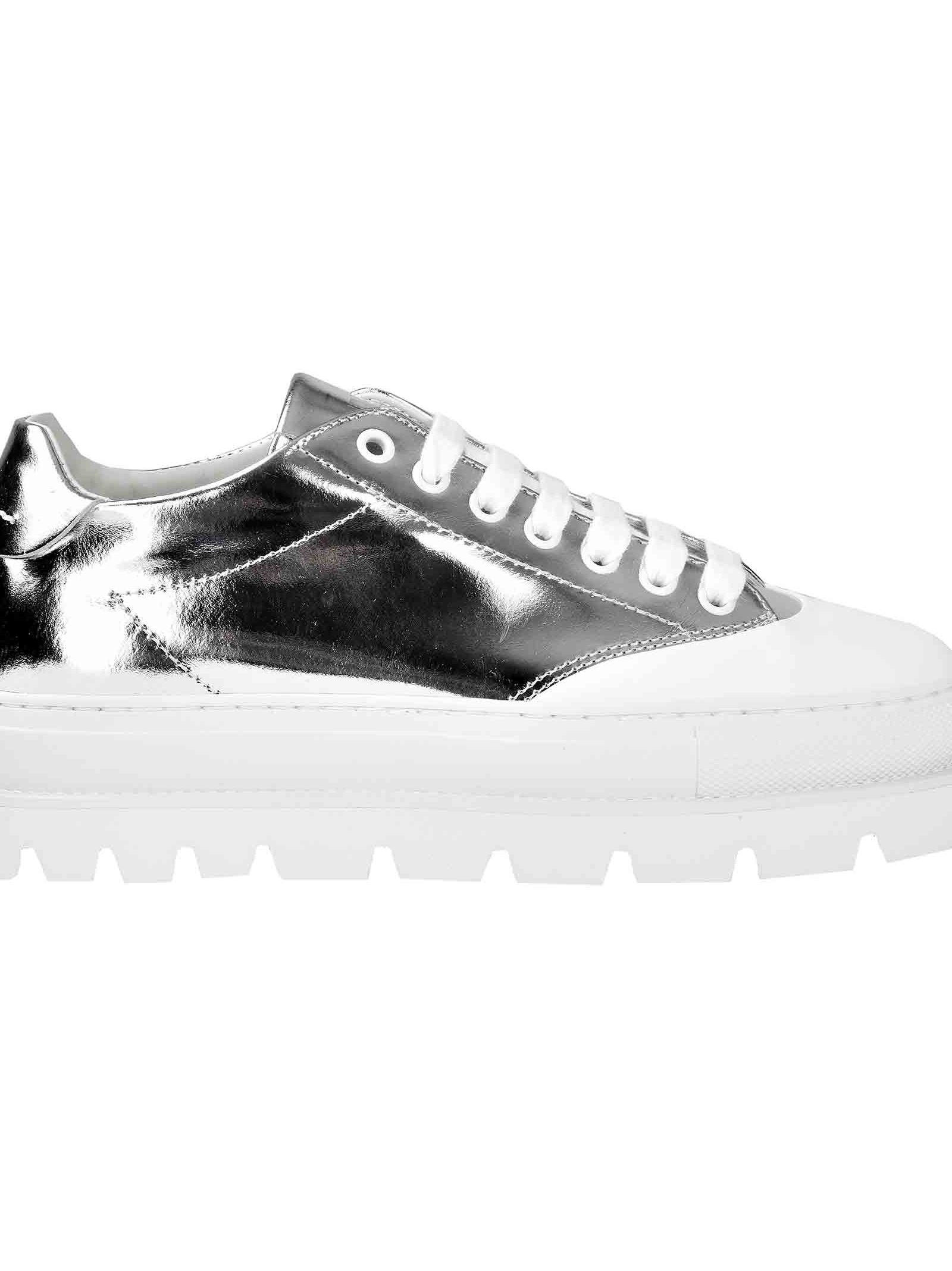 Mirrored Platform Sole Sneakers in Metallic