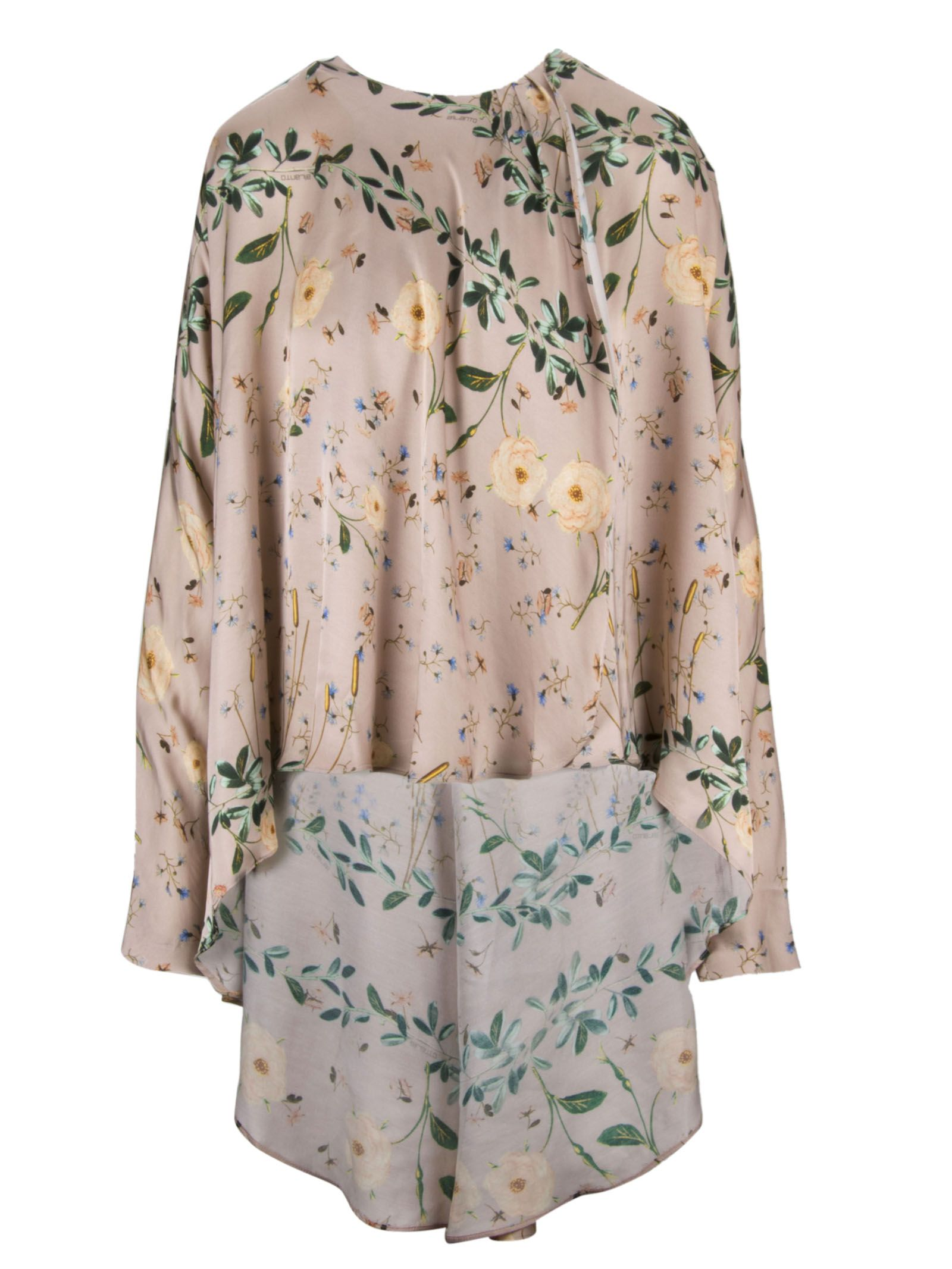 AILANTO Flower Print Oversized Blouse in Nude