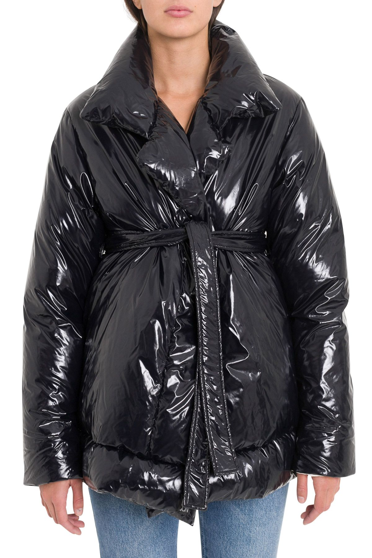 BACON CLOTHING Belted Puffer Jacket in Black
