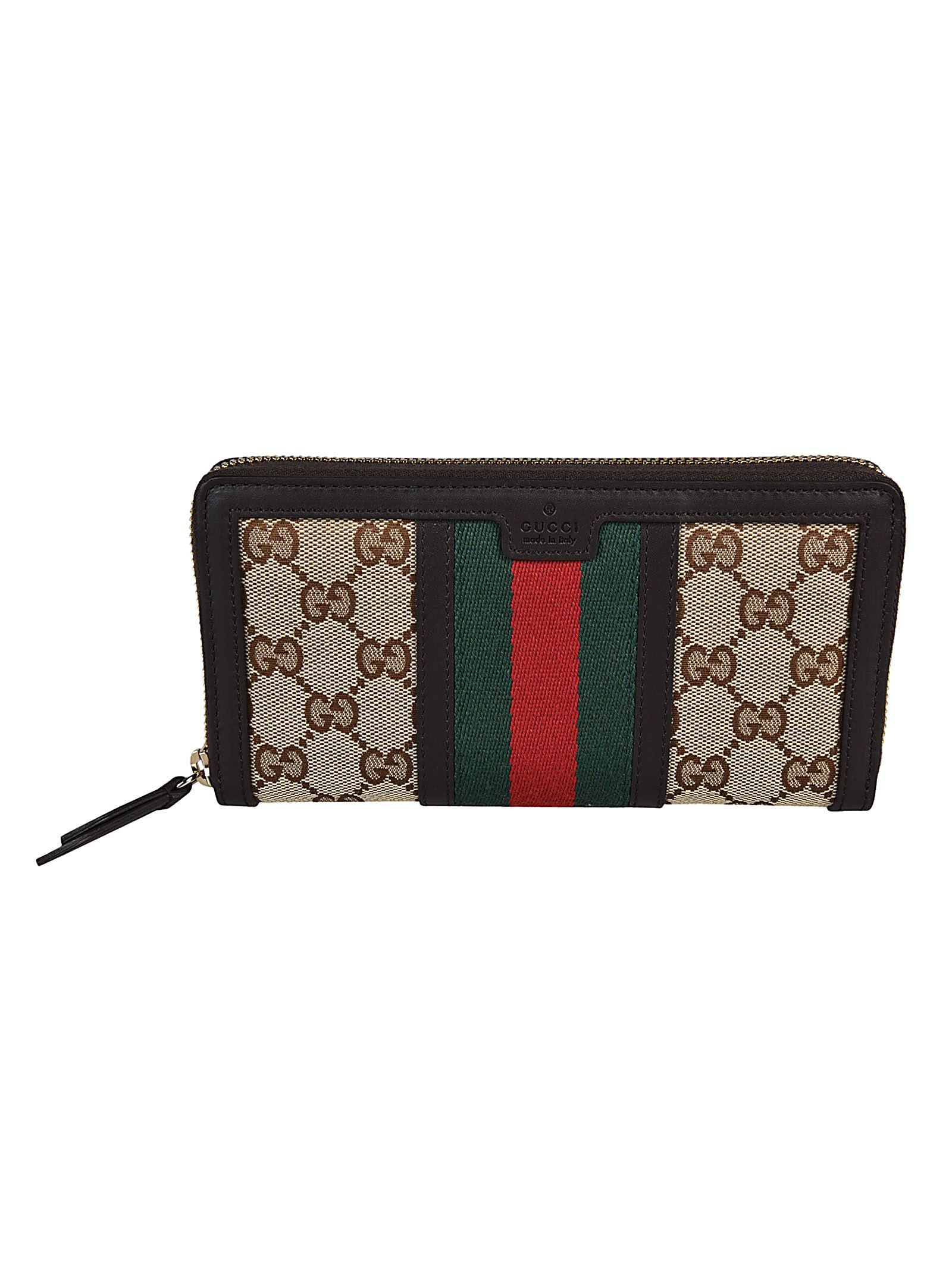 cd86a137c3042c Gucci Vintage Web GG Canvas Zip Around Wallet - Brown - 10537126 | italist