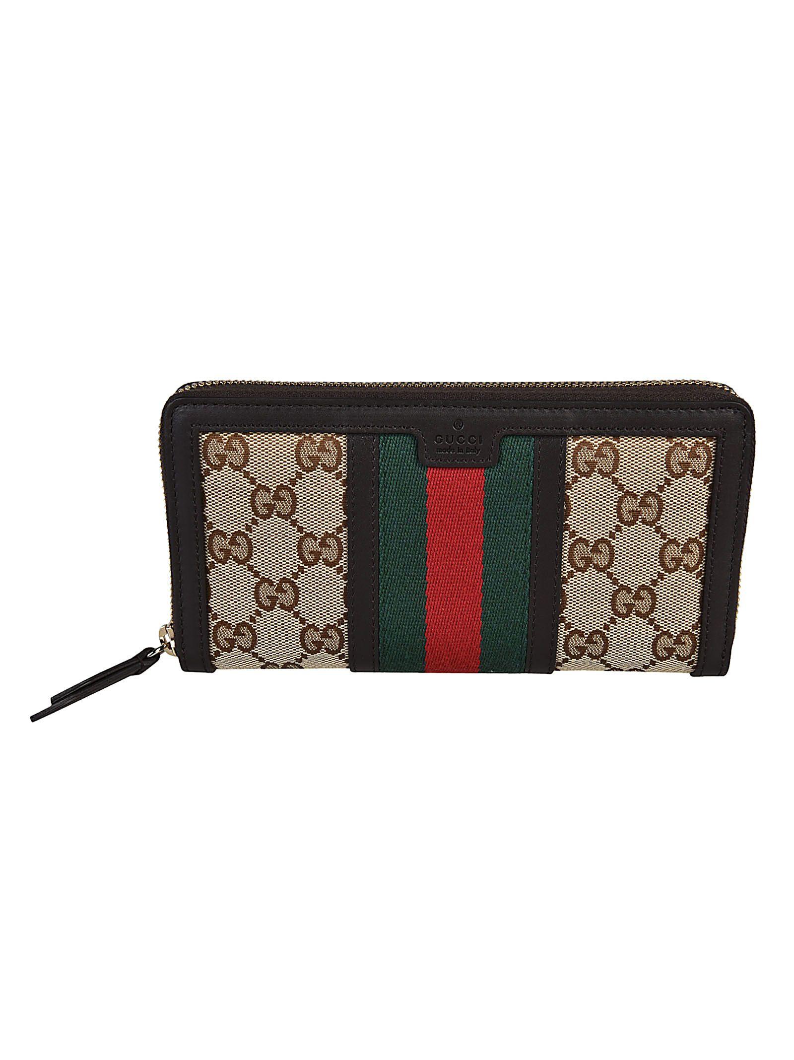 64c5a7e955b0 Gucci Vintage Web GG Canvas Zip Around Wallet - Brown - 10537126 | italist