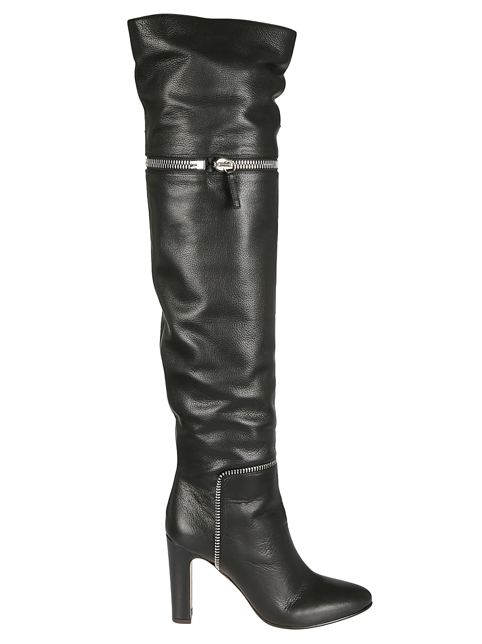 Zipped Over The Knee Boots, Black