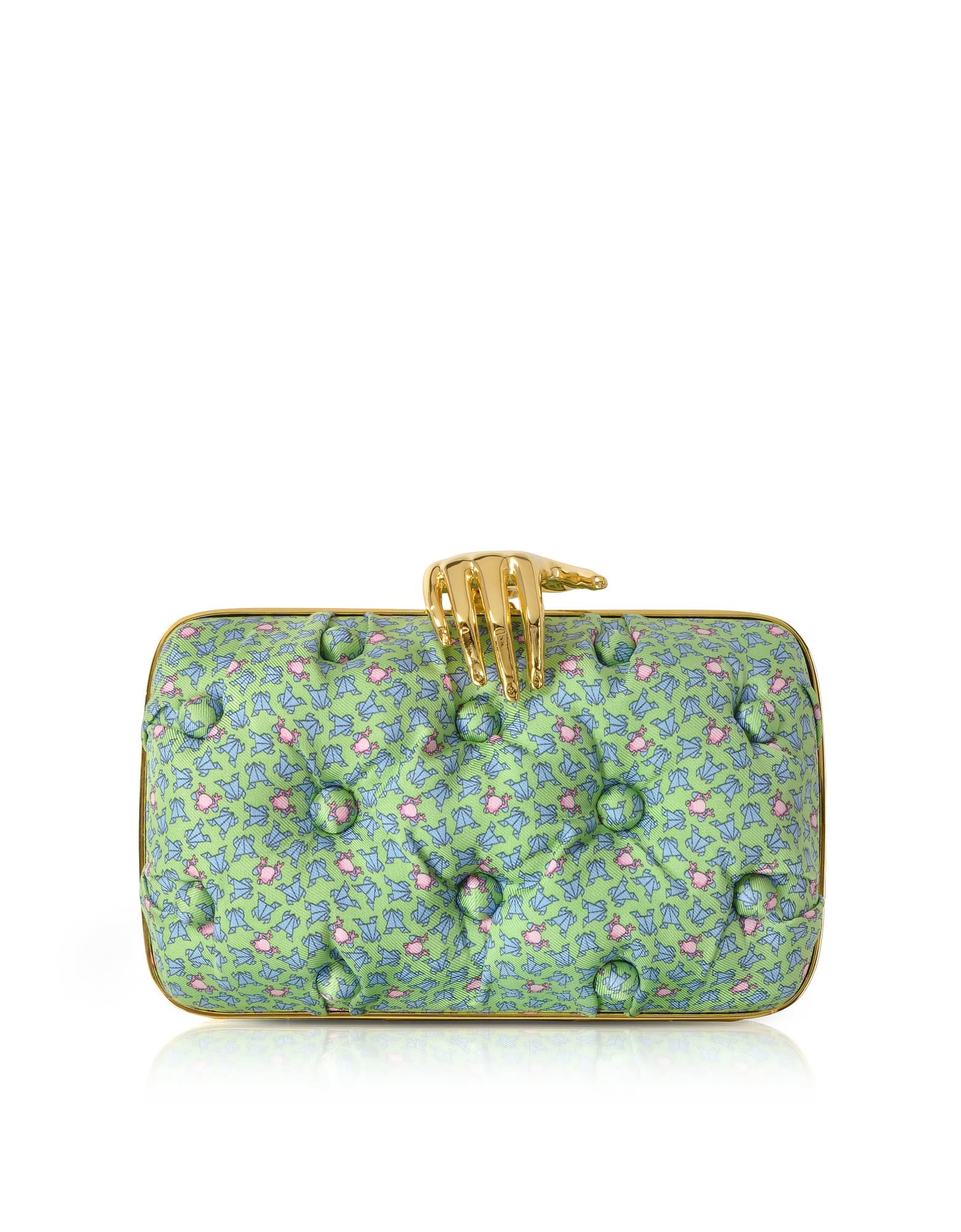 Benedetta Bruzziches FROGS PRINTED GREEN SATIN SILK CARMEN CLUTCH W/ GOLDEN HAND