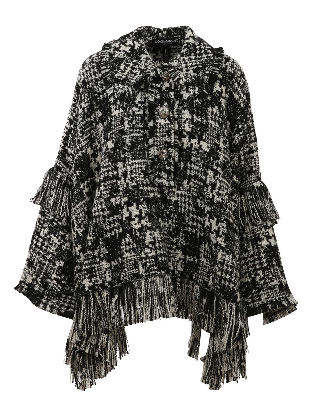 Houndstooth Knit Cape, Black/White