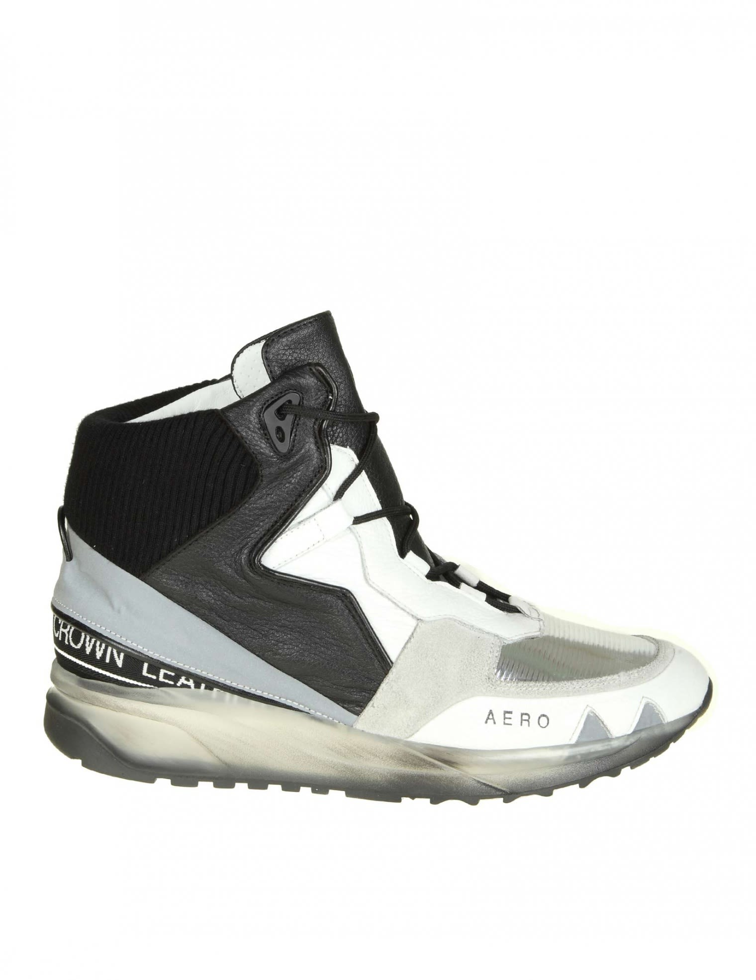 """Leather Crown Leathers """"AERO"""" SNEAKERS IN WHITE LEATHER WITH SILVER AND BLACK D"""